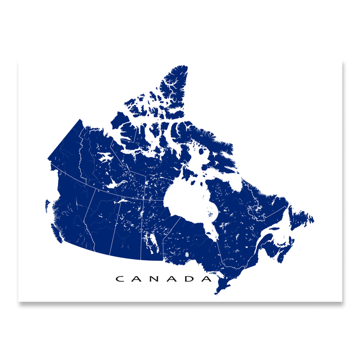 Canada map print with Canadian provinces in Navy designed by Maps As Art.