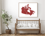 Canada map print with wooden bench home decor by Maps As Art.