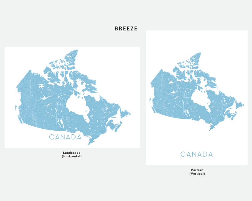 Canada map print in Breeze by Maps As Art.