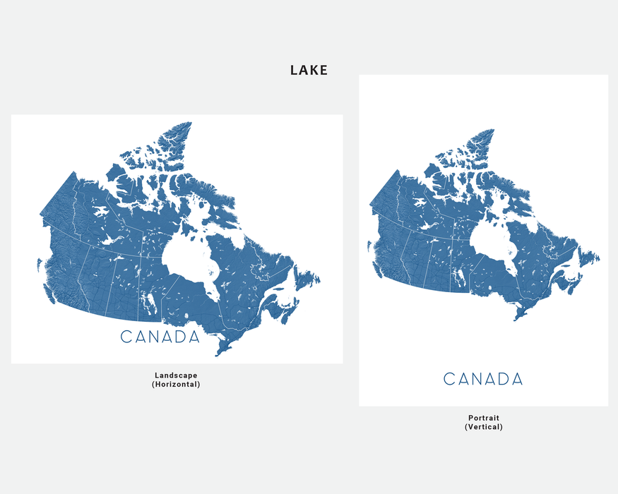 Canada map print in Lake by Maps As Art.