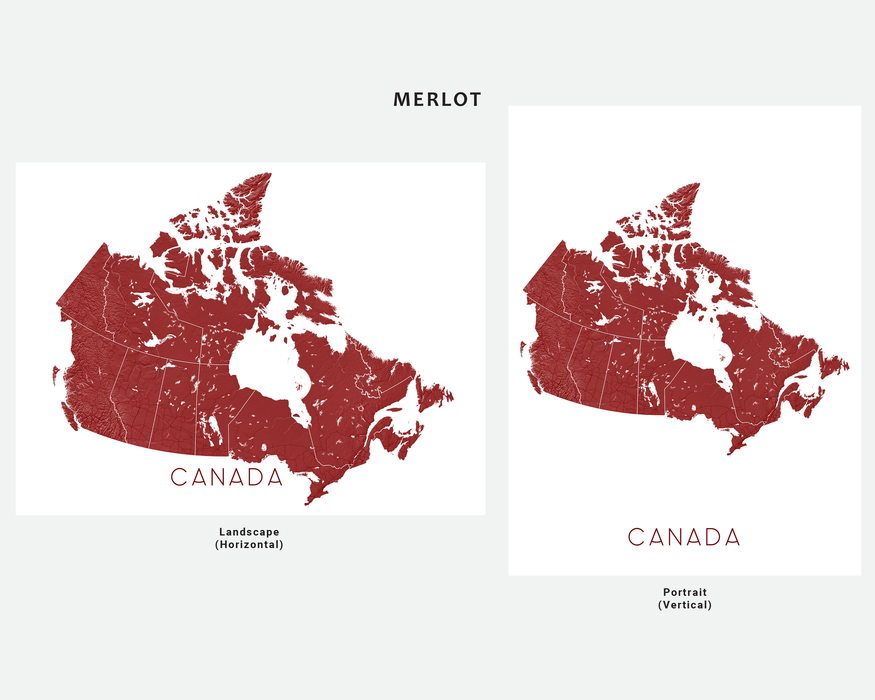 Canada map print in Merlot by Maps As Art.