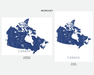 Canada map print in Midnight by Maps As Art.
