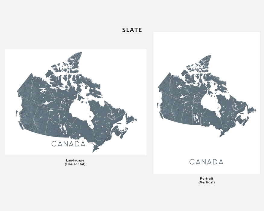 Canada map print in Slate by Maps As Art.