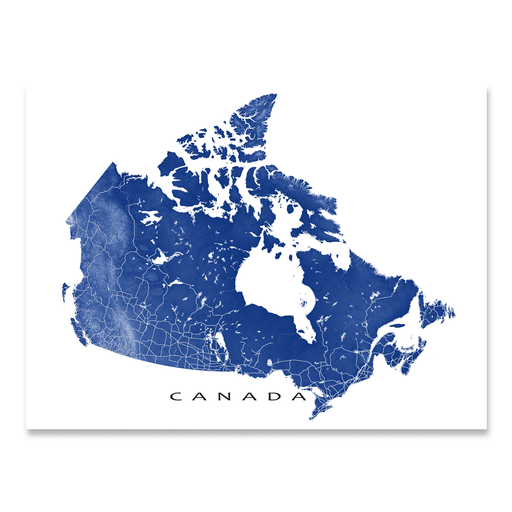 Canada map print with natural landscape and main roads in Navy designed by Maps As Art.