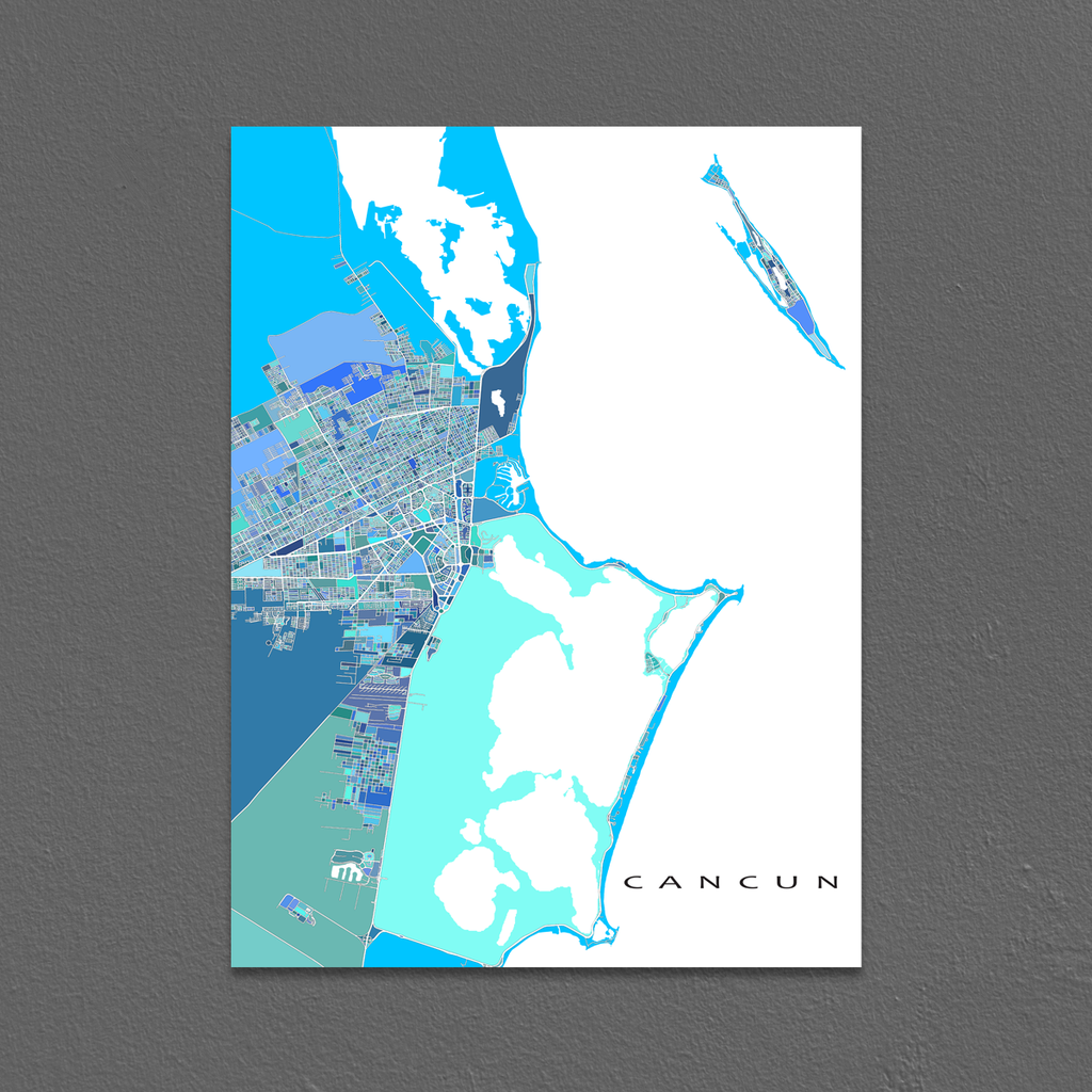 cancun map print mexico