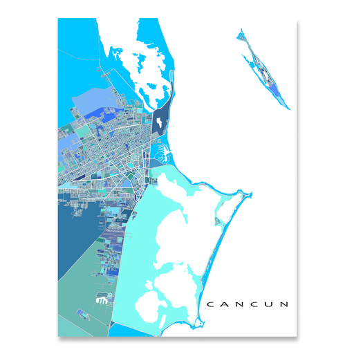 Cancun, Mexico map art print in blue, aqua and turquoise shapes designed by Maps As Art.