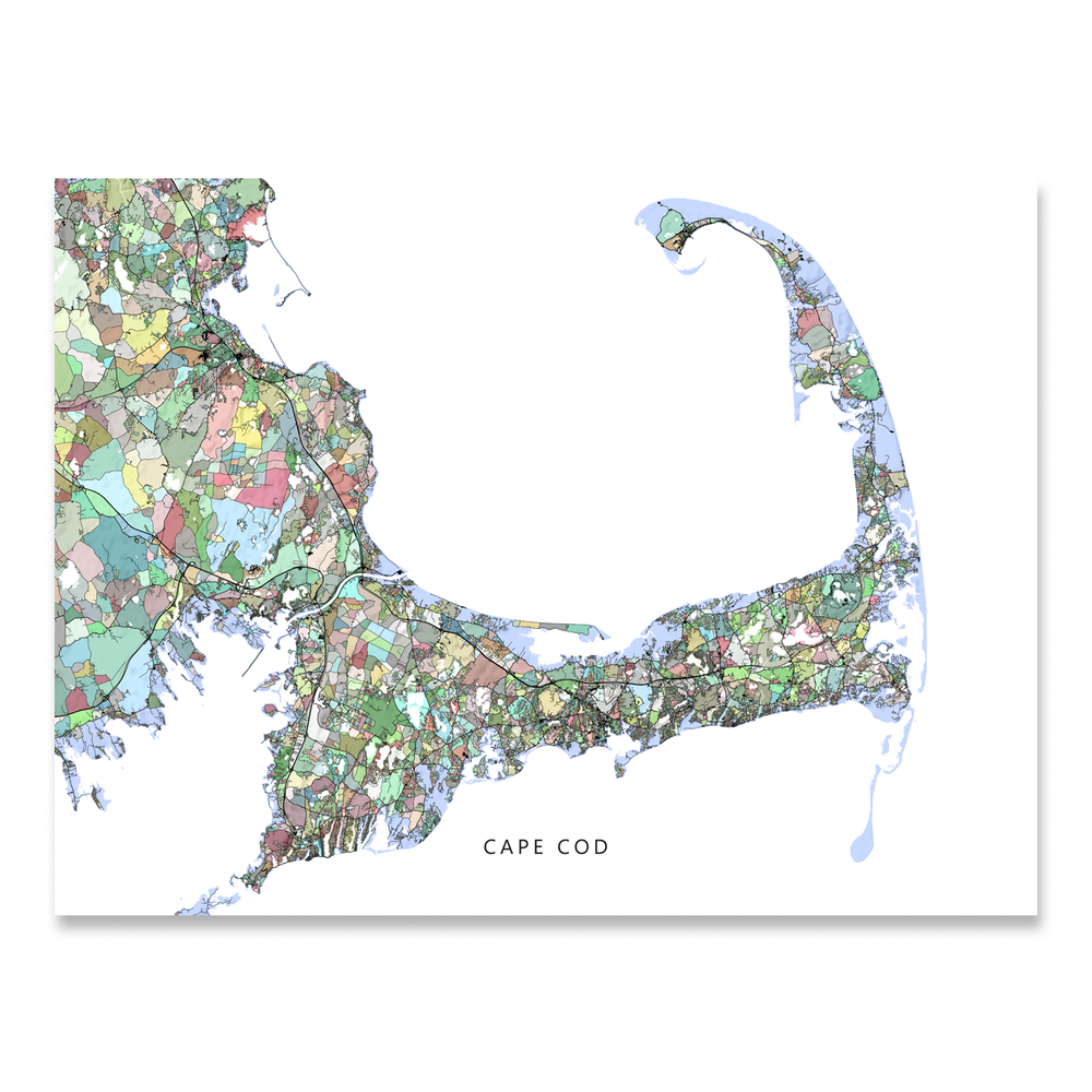 Cape Cod, Massachusetts map art print in colorful shapes designed by Maps As Art.