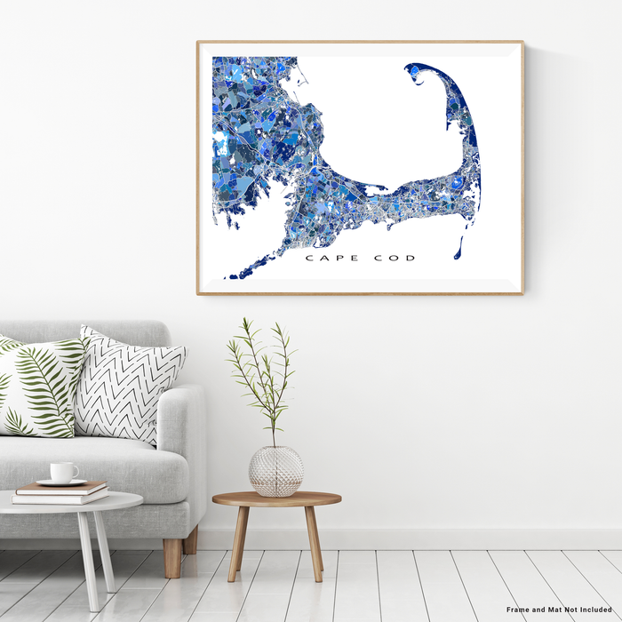 Cape Cod, Massachusetts map art print in blue shapes designed by Maps As Art.