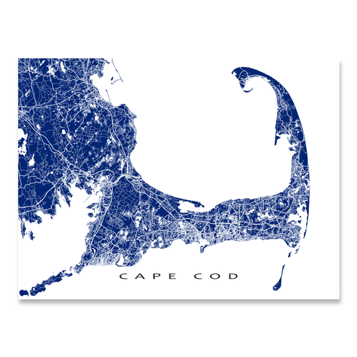 Cape Cod, Massachusetts map print with main roads in Navy designed by Maps As Art.