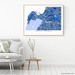 Cape Town, South Africa map art print in blue shapes designed by Maps As Art.