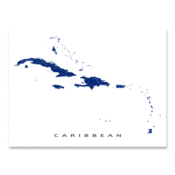 Caribbean map print with the Caribbean islands in Navy designed by Maps As Art.