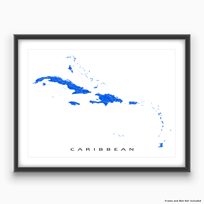 Caribbean map print with the Caribbean islands in Blue designed by Maps As Art.