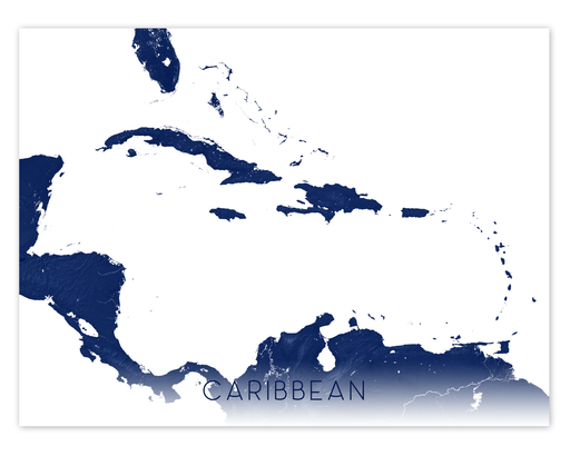 Caribbean map print in Midnight by Maps As Art.