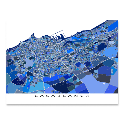 Casablanca, Morocco map art print in blue shapes designed by Maps As Art.