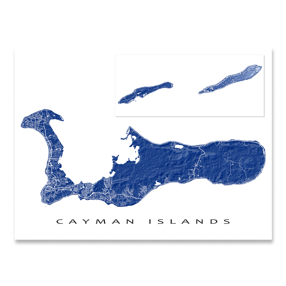 Cayman Islands map print with natural landscape and main roads in Navy designed by Maps As Art.