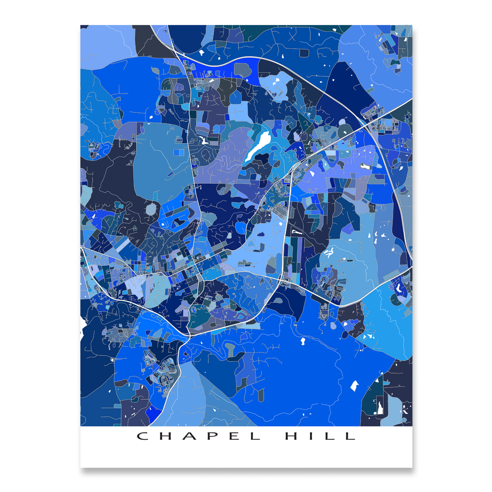 Chapel Hill, North Carolina map art print in blue shapes designed by Maps As Art.