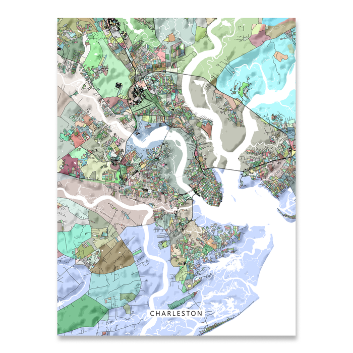 Charleston Map Print, South Carolina, Colorful — Maps As Art on