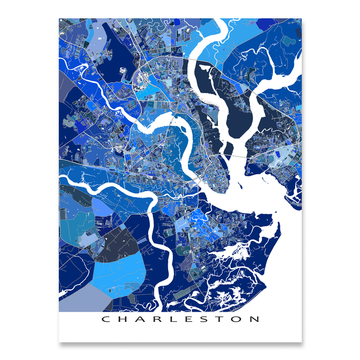 Charleston, South Carolina map art print in blue shapes designed by Maps As Art.
