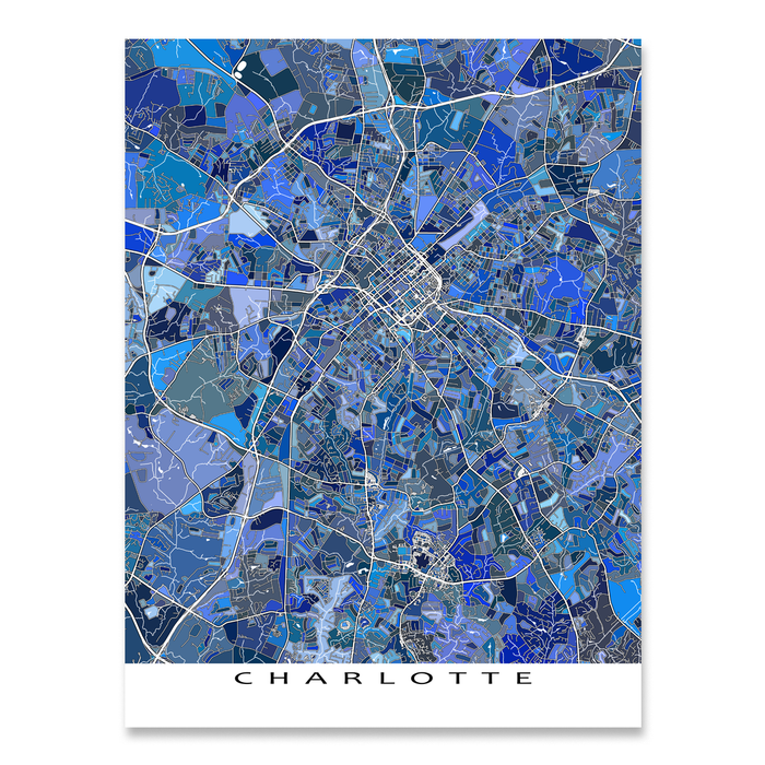 Charlotte, North Carolina map art print in blue shapes designed by Maps As Art.