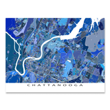 Chattanooga Map Print, Tennessee, USA