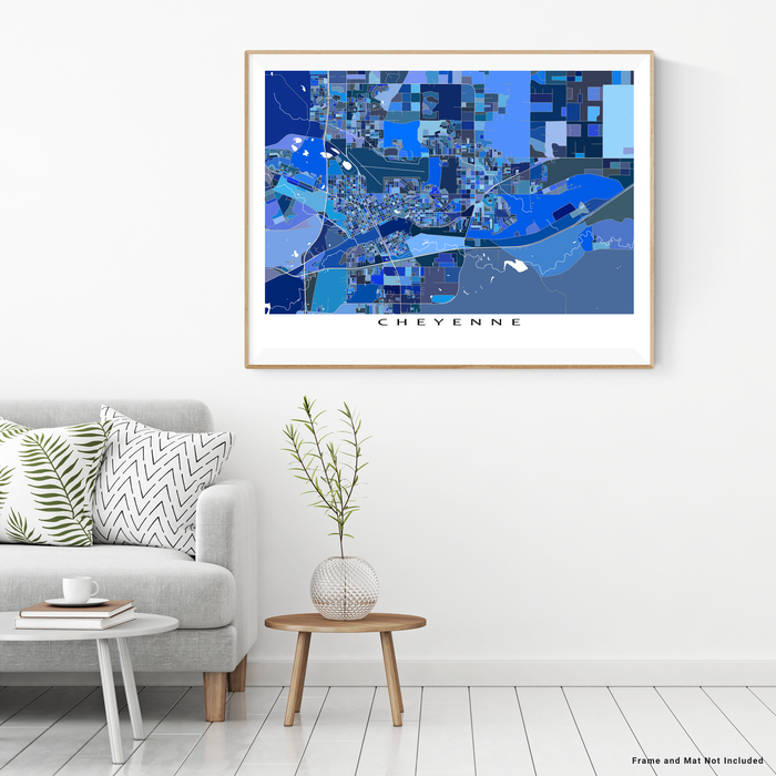 Cheyenne, Wyoming map art print in blue shapes designed by Maps As Art.
