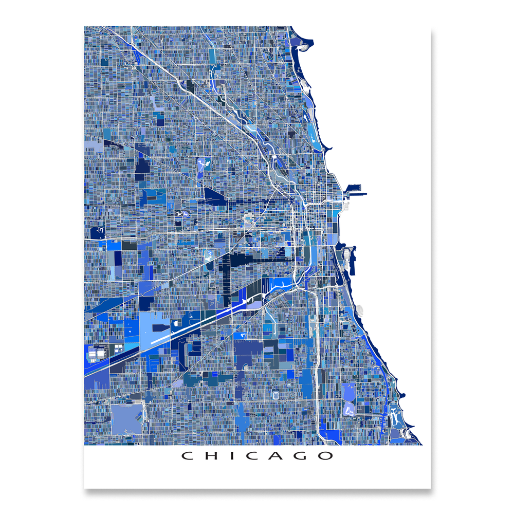 Chicago, Illinois map art print in blue shapes designed by Maps As Art.