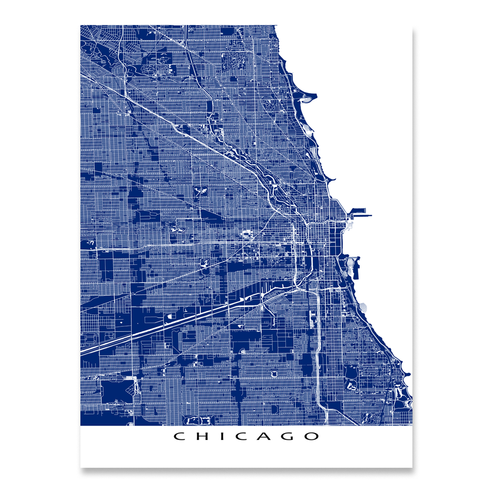 Chicago Map Print, Illinois, USA, Colors