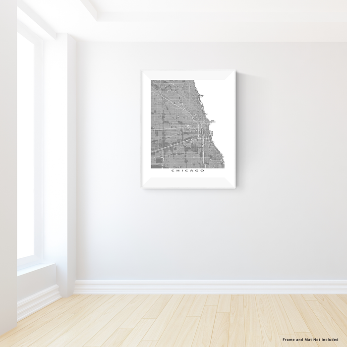 Chicago, Illinois map print with main roads in Grey designed by Maps As Art.