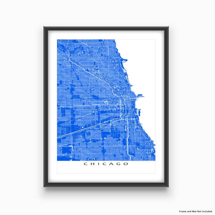 Chicago, Illinois map print with main roads in Blue designed by Maps As Art.