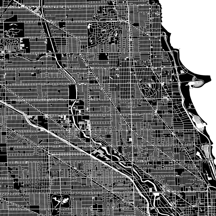 Chicago, Illinois map print close-up with main roads designed by Maps As Art.