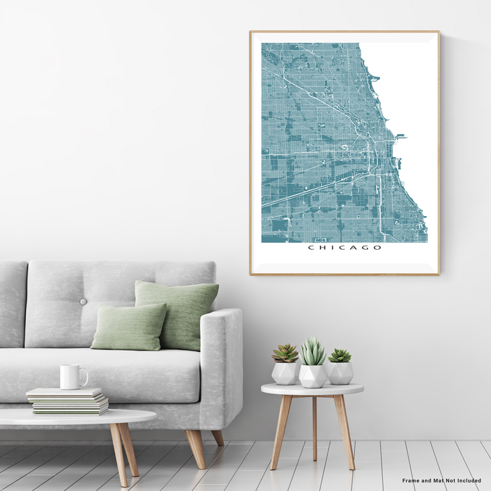 Chicago, Illinois map print with main roads in Marine designed by Maps As Art.