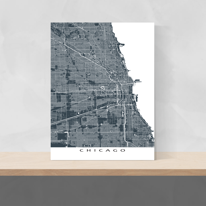 Chicago, Illinois map print with main roads in Slate designed by Maps As Art.