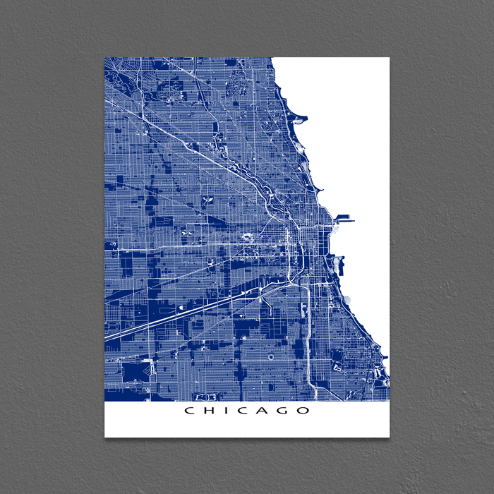 Chicago, Illinois map print with main roads in Navy designed by Maps As Art.