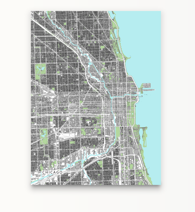 Chicago, Illinois map art print with city streets and buildings designed by Maps As Art.