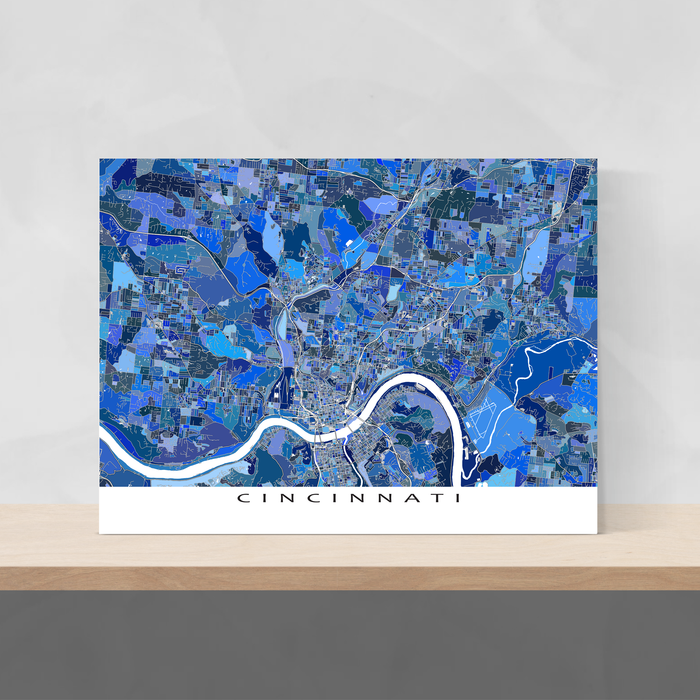 Cincinnati, Ohio map art print in blue shapes designed by Maps As Art.