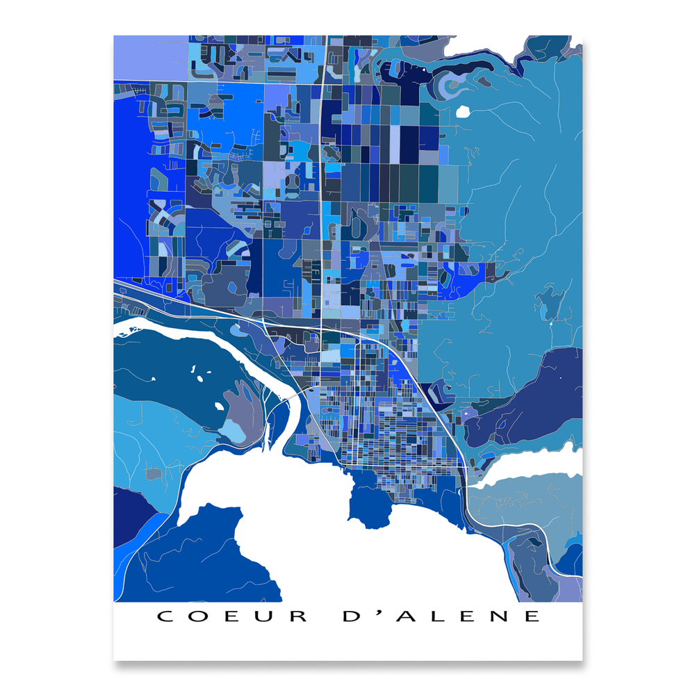 Coeur d'Alene, Idaho map art print in blue shapes designed by Maps As Art.