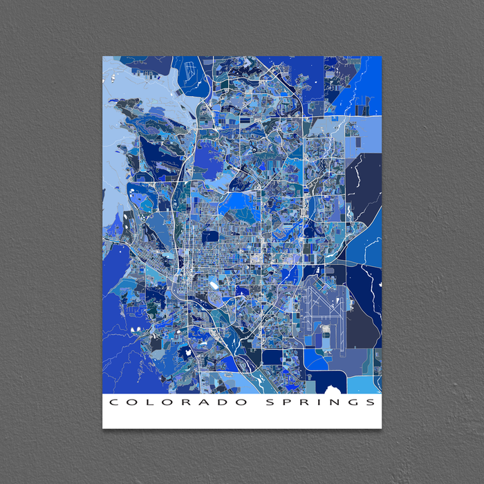 Colorado Springs map art print in blue shapes designed by Maps As Art.