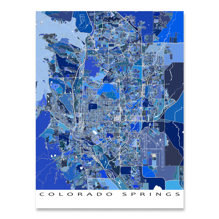 Colorado Springs Map Print, Colorado, USA