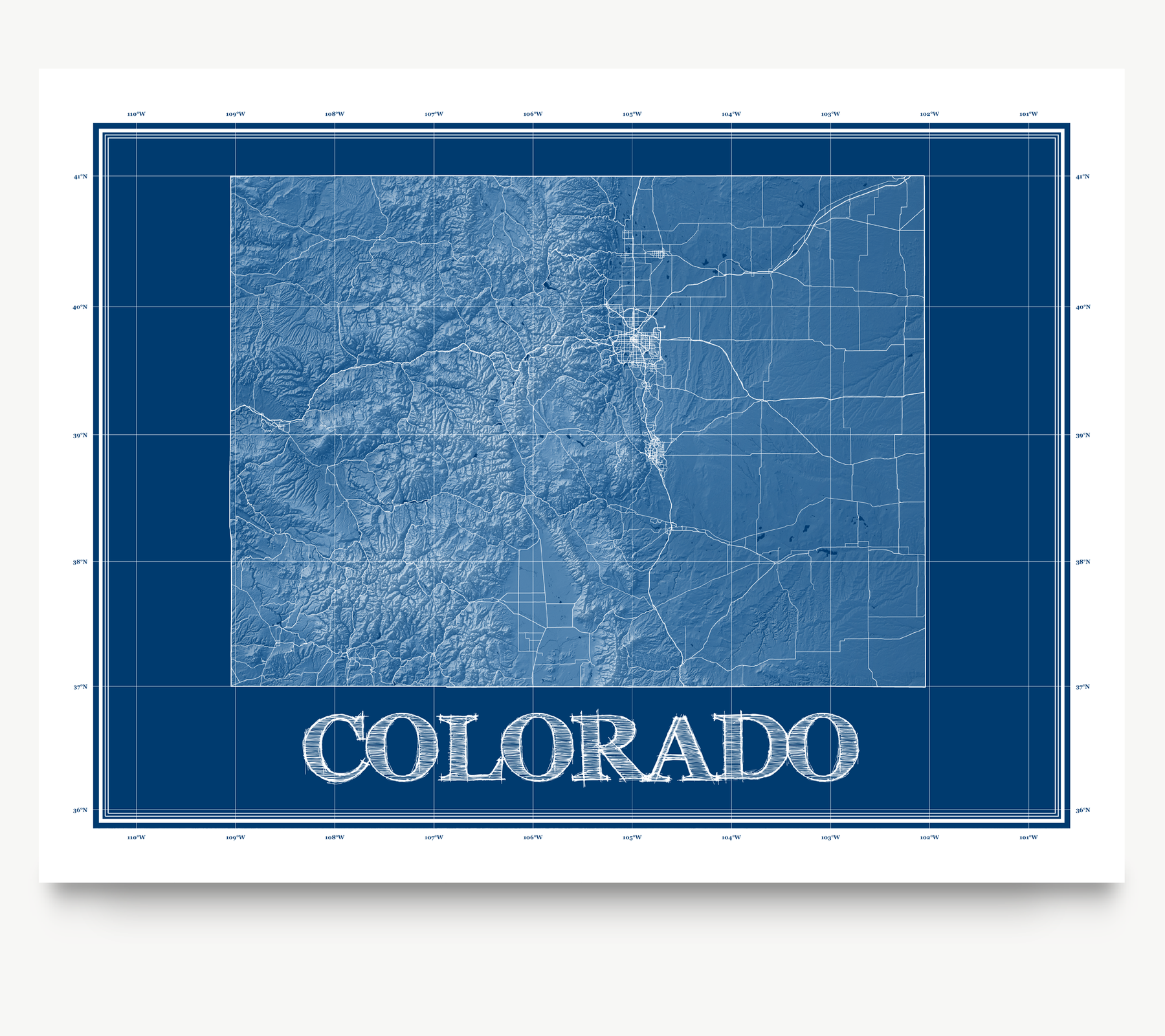 Colorado state blueprint map art print designed by Maps As Art.