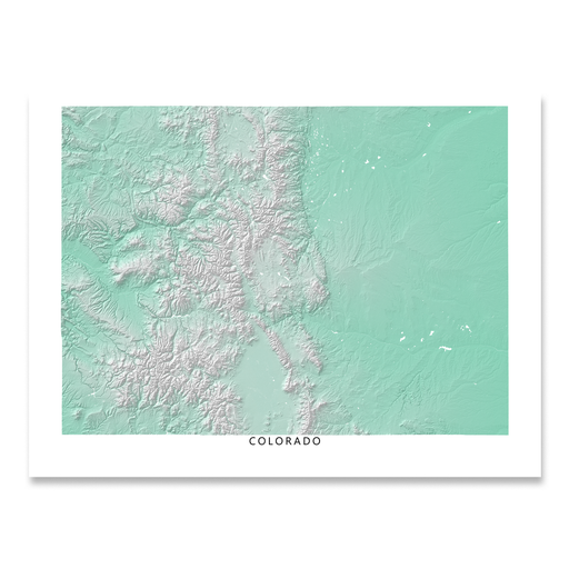 Colorado state map with natural landscape in aqua tints designed by Maps As Art.