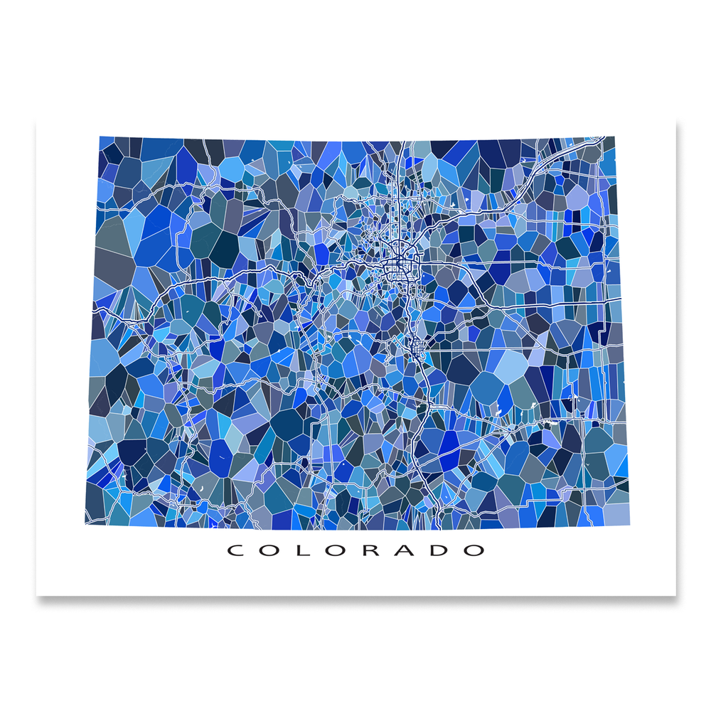 Colorado state map art print in blue shapes designed by Maps As Art.