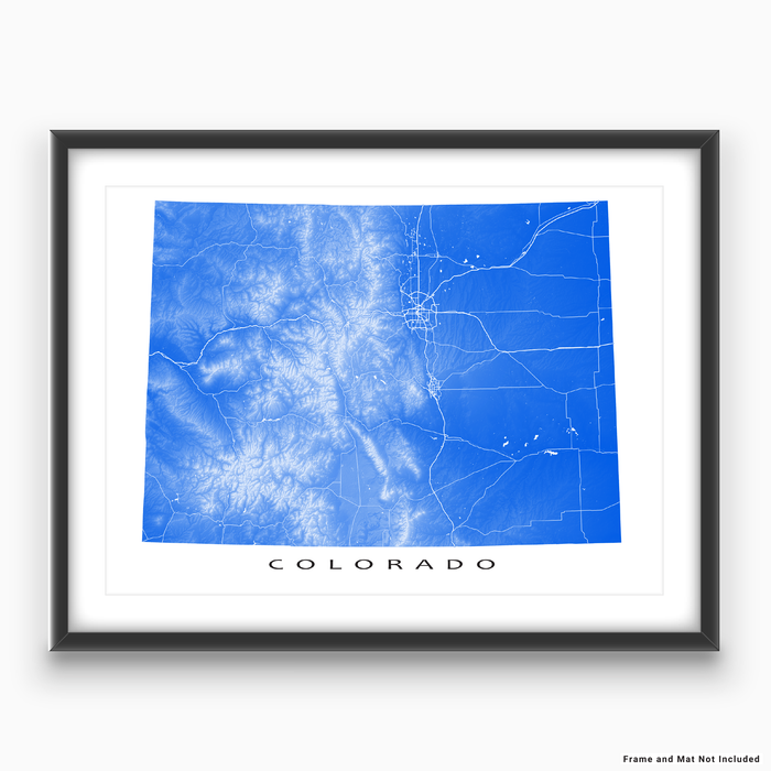 Colorado state map print with natural landscape and main roads in Blue designed by Maps As Art.