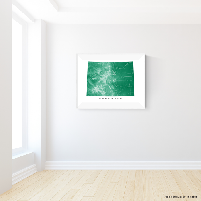 Colorado state map print with natural landscape and main roads in Green designed by Maps As Art.