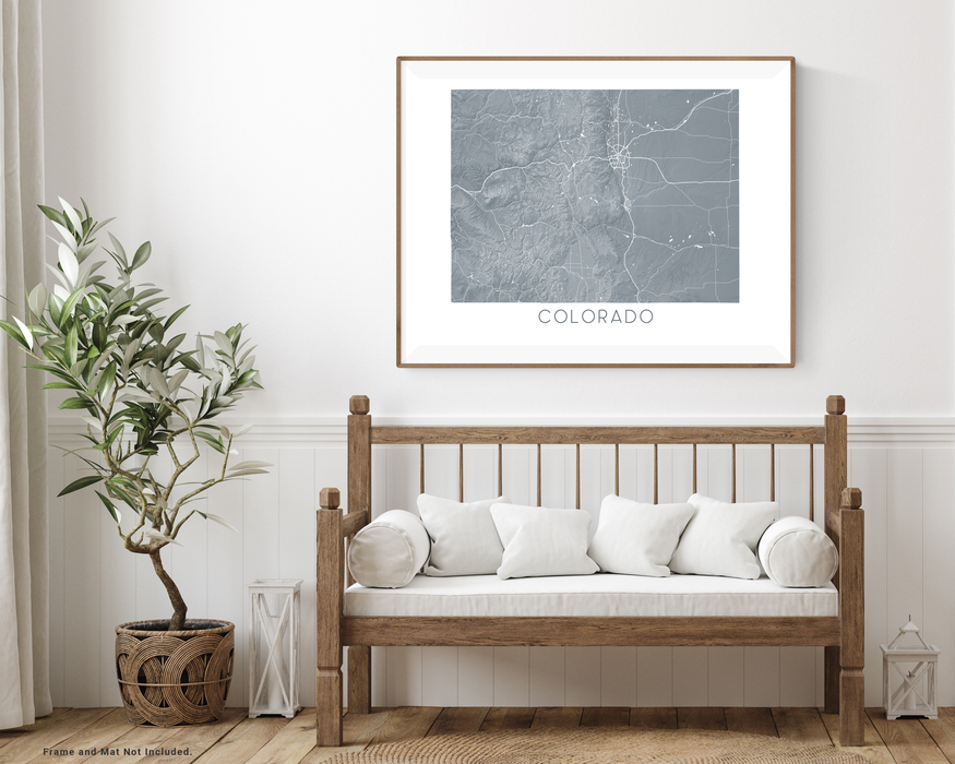Maps As Art state map print with wooden bench home decor by Maps As Art.