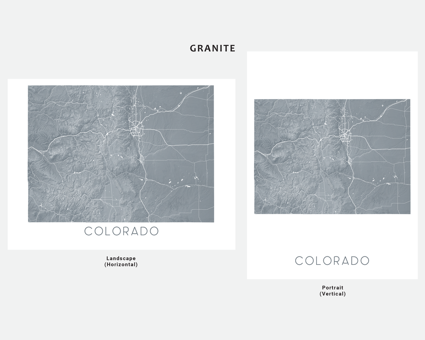 Maps As Art state map print in Granite by Maps As Art.