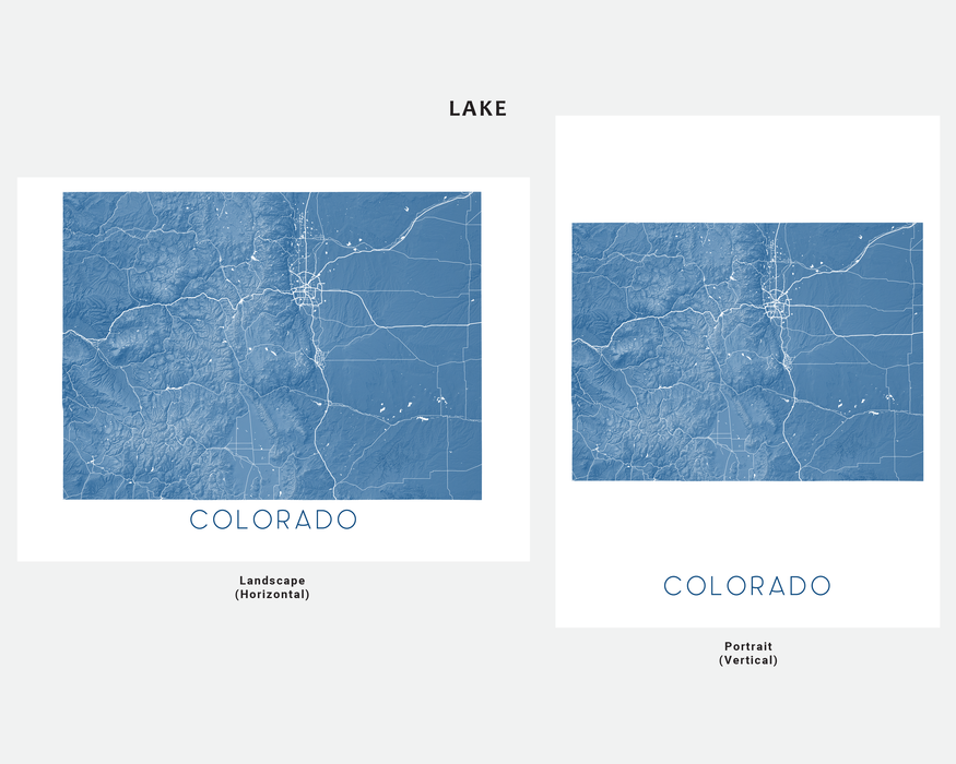 Maps As Art state map print in Lake by Maps As Art.