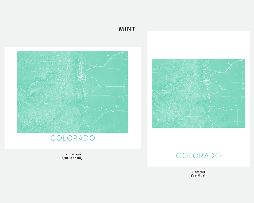 Maps As Art state map print in Mint by Maps As Art.