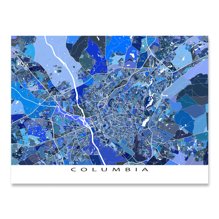 Columbia, South Carolina map art print in blue shapes designed by Maps As Art.