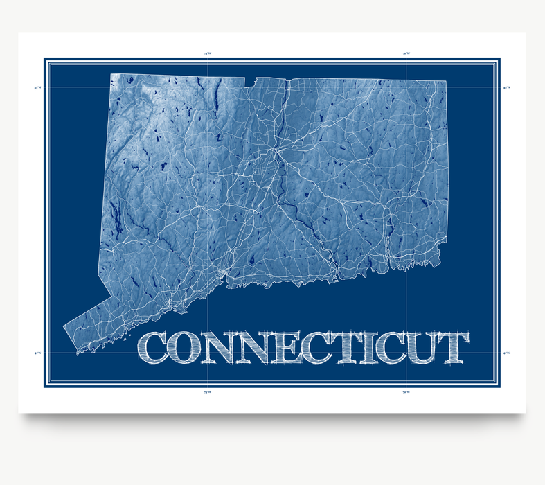 Connecticut state blueprint map art print designed by Maps As Art.
