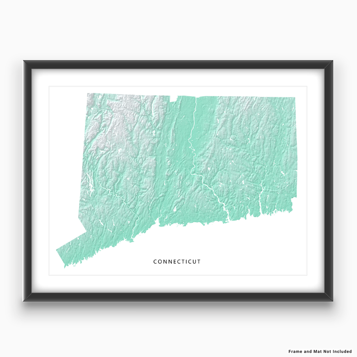 Connecticut state map with natural landscape in aqua tints designed by Maps As Art.
